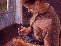 ピサロ『朝食、コーヒーを飲む若い農婦』