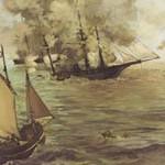 マネ『キアサージ号とアラバマ号の海戦』