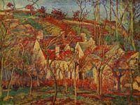 ピサロ『赤い屋根、冬の効果』